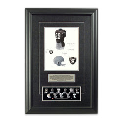 """Heritage Sports Art - Original art of the NFL 1983 Oakland Raiders uniform - This beautifully framed piece features an original piece of watercolor artwork glass-framed in an attractive two inch wide black resin frame with a double mat. The outer dimensions of the framed piece are approximately 17"""" wide x 24.5"""" high, although the exact size will vary according to the size of the original piece of art. At the core of the framed piece is the actual piece of original artwork as painted by the artist on textured 100% rag, water-marked watercolor paper. In many cases the original artwork has handwritten notes in pencil from the artist. Simply put, this is beautiful, one-of-a-kind artwork. The outer mat is a rich textured black acid-free mat with a decorative inset white v-groove, while the inner mat is a complimentary colored acid-free mat reflecting one of the team's primary colors. The image of this framed piece shows the mat color that we use (Silver). Beneath the artwork is a silver plate with black text describing the original artwork. The text for this piece will read: This original, one-of-a-kind watercolor painting of the 1983 Oakland Raiders uniform is the original artwork that was used in the creation of this Oakland Raiders uniform evolution print and tens of thousands of other Oakland Raiders products that have been sold across North America. This original piece of art was painted by artist Tino Paolini for Maple Leaf Productions Ltd.  1983 was a Super Bowl winning season for the Oakland Raiders. Beneath the silver plate is a 3"""" x 9"""" reproduction of a well known, best-selling print that celebrates the history of the team. The print beautifully illustrates the chronological evolution of the team's uniform and shows you how the original art was used in the creation of this print. If you look closely, you will see that the print features the actual artwork being offered for sale. The piece is framed with an extremely high quality framing glass. We have used this"""