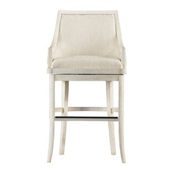 Stanley Furniture - Coastal Living Resort Dockside Hideaway Bar Stool - Accentuate your bar area by including this well-designed Coastal Living Resort Dockside Hideaway Bar Stool. This quality piece is upholstered in natural textured chenille and Solana sand providing it ultimate comfort and style. This cottage-inspired piece will help you create a fine balance between casual and modern appeal.