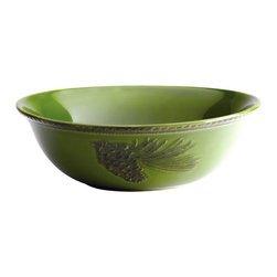 BonJour - BonJour Dinnerware Sierra Pine 10 in. Round Serving Bowl - 54080 - Shop for Bowls and Candy Dishes from Hayneedle.com! How will you use (and enjoy) the BonJour Dinnerware Sierra Pine 10 in. Round Serving Bowl? Serving popcorn during a family movie? Side dishes at holiday dinners? Displaying fresh fruit on a console table? The possibilities really are endless. Crafted of durable stoneware this serving bowl is available in your choice of glazed color. Two pinecone motifs add a fresh rustic appeal and the scalloped border adds a hint of elegance. And this bowl is built tough - it s safe for the dishwasher freezer and microwave and it s also oven safe at 250F degrees for up to 30 minutes. Use alone or pair with other pieces in BonJour s Sierra Pine collection.About Meyer CorporationMeyer Corporation U.S. based in Vallejo Calif. has been one of the fastest-growing cookware companies in the United States and is now the largest distributor of range-top cookware in the country. Meyer Corporation specializes in the distribution of metal cookware and other kitchen products. The cookware is made by Meyer Corporation's own affiliate factories throughout the world; offering different brands enables the company to distribute different levels of cookware. Meyer Corporation's focus is on developing high-quality top-performing cookware using cutting-edge technology and designs. The company offers cookware made from stainless steel hard-anodized aluminum and non-stick aluminum.