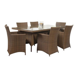 Westminster Teak Furniture - Valencia Modern Outdoor Dining Set - Part of the Valencia Collection, this Valencia dining Set is truly an  indoor-outdoor furniture set with style and functionality. Consisting of One Valencia Summer Grass Rectangular dining table and 6 Valencia Summer Grass Armchairs.