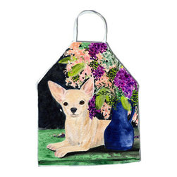 Caroline's Treasures - Chihuahua Apron SS8289APRON - Apron, Bib Style, 27 in H x 31 in W; 100 percent  Ultra Spun Poly, White, braided nylon tie straps, sewn cloth neckband. These bib style aprons are not just for cooking - they are also great for cleaning, gardening, art projects, and other activities, too!