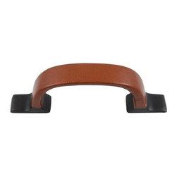 Atlas Homewares - Aged Bronze Hamptons Saddle Leather Pull (ATH3177O) - Aged Bronze Hamptons Saddle Leather Pull