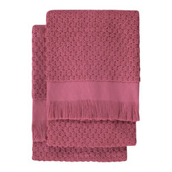 Nine Space - Dotty Hand Towel (Set of 2), Crushed Berry - At 680 grams per square meter, these hand towels are luxuriantly soft and amazingly absorbent. They offer up plenty of visual texture with an irresistibly charming bubble pattern, giving your bath a look that's at once elegantly refined and subtly whimsical.