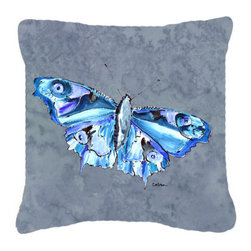 Caroline's Treasures - Butterfly on Gray Fabric Decorative Pillow - Indoor or Outdoor Pillow from heavyweight Canvas. Has the feel of Sunbrella Fabric. 18 inch x 18 inch 100% Polyester Fabric pillow Sham with pillow form. This pillow is made from our new canvas type fabric can be used Indoor or outdoor. Fade resistant, stain resistant and Machine washable..