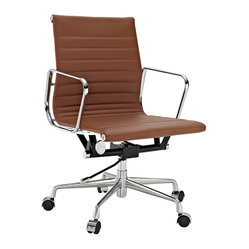 LexMod - Ribbed Mid Back Office Chair in Terracotta Genuine Leather - Regarded as one of the most iconic designer office chairs of the modern classics, this piece adds weight and poise to your office. With superior comfort as well as style, this chair is worthy of its fame and perfect for the discerning business.