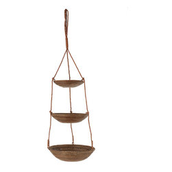 Kouboo - 3-Tier Hanging Basket in Rattan-Nito, Brown - Tier it up with these hanging baskets. Each is hand woven from sturdy Nito vine that can hold fruits and veggies in the kitchen or towels, soaps and other essentials in the bath.