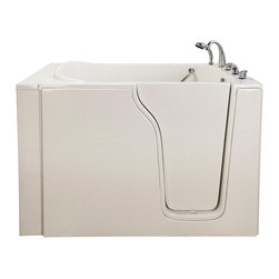 "Ella's Bubbles - Bariatric 33 Soaking Walk-In Bathtub in White with Right Drain/Door - The Ella Bariatric 33 Walk In Bathtub is designed to accommodate a full spectrum of body types. Similar to the Ella Bariatric (35), the bathtub shell is constructed of the highest grade fiberglass composite with a gel coat high gloss finish for beauty and durability. It is supported with a durable stainless steel frame. As with all of our durable high gloss finish gel coat walk in bathtubs, this bathtub includes an anti-slip floor, low step in threshold for easy entrance, an extension panel to fit into 60 in. opening, an ""L"" shaped safety grab bar, and high quality 5 piece Traditional Fast Fill Roman Faucet set (10.5GPM @ 80PSI) including pull out hand shower. You can chose this bathtub in left or right hand side door and drain .This model is available in soaking, hydro massage, air massage or dual massage."