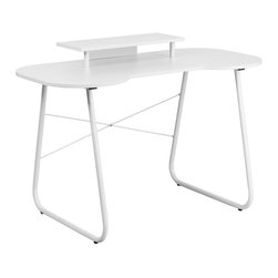 Flash Furniture - Flash Furniture White Computer Desk with Monitor Stand and White Frame - This spacious Computer Desk has a simple design when needing a desk for writing, reading, homework and laptop usage. This desk features a small cutout that allows you to pull your chair close up to the desk.