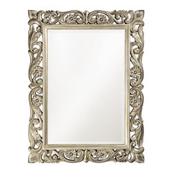 Ornate Floral Mirror - Add flourish, whimsey and reflection to any room in your house with this mirror, which is surrounded by an ornate nickel frame. It's an ideal choice for a girl's room, over the sink in a powder room, an entry hall or over a mantle.