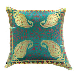 "Banarsi Designs - Electric Leaf Pillow Cover, Set of 2, Golden Emerald - Discover our shimmering and unique ""Electric Leaf Pillow Cover"" from Banarsi Designs."