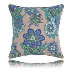 Pine Cone Hill - shalini bluemarine pillow (26x26) - A sparkling, modern interpretation of an antique Indian block print, on a neutral cotton background. Decorative piping; feather insert included.��This item comes in��blue.��This item size is��26w 26h.