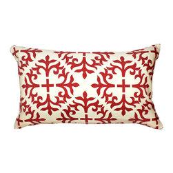 1414 Home - Modern Contemporary Geometric Cotton Pillow, Red, 14x24 - 100% cotton.  Hidden zipper closure.  Down insert.  Wash cold water.
