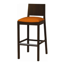 """Grand Rapids Chair - Chloe Bar Stool - A unique chair that defies definition but defies any room it's in - from reception areas and executive suites to hotel rooms, libraries and cafes. Features: -Made of beech hardwood. -Upholstered seats will use one of 5 threads (Black, Dark Grey, Beaver, Beige or White) chosen by the upholstery team. -Mortise and tenon construction maximizes joint strength. -Grain consistency and superior color clarity. -Tongue and groove corner blocks triangulate the joints on the front legs. -Stretchers are toenail screwed eliminating the need for unsightly metal brackets. -Hand sanded and stained. -High resilience foam. -Hand sewn and fit fabric. -Ensure comfort appearance and durability. -Made in USA. Dimensions: -40.5"""" H x 17.5"""" W x 20.5"""" D."""