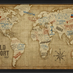 The Artwork Factory - 'The World Passport Map' Print - Remember when passports were stamped and steamer trunks bore stickers from far off lands? You can capture this old-world travel vibe with the framed world passport map print, a graphic depiction of the world well traveled.