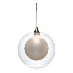 Shakuff - Kadur Frost Glass Pendant Light, Clear with White Inner - Snowy frosted globes frozen within floating water-clear spheres. *Each order is custom made and may take up to 8 weeks to ship.