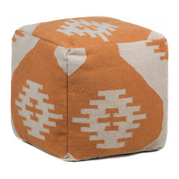 Chandra Rugs - Hand-Knitted Contemporary Wool Pouf - POU129 - 1'5 x 1'5 x 1'5 - Orange - Hand-knitted Contemporary Wool Pouf - POU129 - 1'5 x 1'5 x 1'5