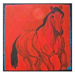 Bravado, Original, Painting - This painting was inspired by the life of my 33 year-old Bay Gelding, Wilbur, who was born to me as a colt and who I recently lost. He had a sweet disposition and he loved to be in a close herd with other horses, swishing tails. It is made with archival materials, sealed for protection and gallery wrapped, ready to hang, with no frame required.