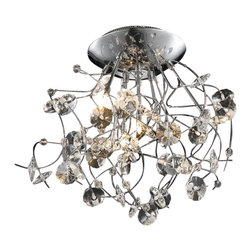 Elegant Lighting - Elegant Lighting 2071F22C Iris 6-Light, Single-Tier Flush Mount Crystal Chandeli - Elegant Lighting 2071F22C Iris 6-Light, Single-Tier Flush Mount Crystal Chandelier, Finished in Chrome with Elegant Cut Clear CrystalsElegant Lighting 2071F22C Features: