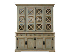 Old Country Cabinet,, Pale Turquoise - Old Country Cabinet, Pale turquoise with cream undertones and golden accents,