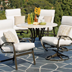 Telescope Casual Cape May Deep Seating Swivel Rocker - The Cape May Cushion Collection is a perennial favorite providing a clean, classic look and the comfort you come to expect from Telescope Casual. The weather resistant cushions clean up quickly and are available in an array of coordinating fabric choices.