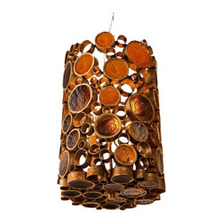 """Varaluz - Contemporary Varaluz Fascination Kolorado Reclaimed Glass 3-Light Pendant - This contemporary eco-friendly pendant light from Varaluz lives up to its name. The Fascination collection features 70% or greater hand-forged recycled steel in its frame of various size circles. The circles are filled with the warm hues of recycled amber bottle glass. As the colored glass scatters and diffuses the light it glistens on the low VOC (volatile organic compound) Kolorado finish of the steel. A gorgeous environmentally conscious design from Varaluz. Reclaimed amber bottle glass. Recycled steel. Low VOC Kolorado finish. Includes three 50 watt G9 halogen bulbs. 16"""" high. 10"""" wide. Canopy is 5 1/2"""" wide. 10' cable included.  Reclaimed amber bottle glass.    Recycled steel.   Low VOC Kolorado finish.   Includes three 50 watt G9 halogen bulbs.   16"""" high.   10"""" wide.   Canopy is 5 1/2"""" wide.   10' cable included."""
