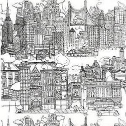 New York, New York, Black on White Wallpaper - Seeing the streets of New York City in your powder room would be really fun — and funny.