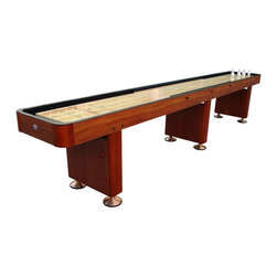 Playcraft - Woodbridge 9 ft. Shuffleboard Table (Cherry) - Finish: CherryIncludes set of 8, 2 in. playing weights(4 blue & 4 red). Includes speed bead wax. Traditional indoor 1-2-3 outline scoring. Scorers included. Institutional quality for years of trouble-free use . 1.5 in. Thick solid hardwood butcher-block bed (not a laminate) finished with 10 coats of lacquer to create a smooth, glossy, fast surface. 2 Rigid, reinforced double-paneled pedestal legs with metal leg levelers featuring an in leg storage compartment. 1-Piece, hardwood micro-lam cabinet construction for increased stability . Solid hardwood corners . Carpeted walls & gutters . Assembly required. 108 in. L x 24 in. W x 31 in. H (220 lbs.)