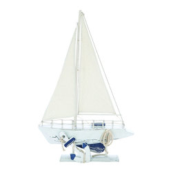 Benzara - 24in. Contemporary Wooden Sailing Boat with Marine Design - Originating in China, this attractive Wooden Sailing Boat is an ideal present for kids on any occasion as it features a playful design. It includes a silky white sail that is complemented with the main colors of the ocean, making the boat appealing in looks. Adding a more attractive appeal to the overall design, the boat is adorned with a small, detailed figurine that gives it a more charming appearance. This wooden boat also depicts other attractive elements like the anchor very well, ensuring that it makes a wonderful collectible for any setting. This nautical and maritime decor item adds an edge to usual cabin settings. The combination of subtle, yet elegant ocean colors gives the overall appearance of the boat a touch of swagger, making it ideal for casual interiors. It comes with a dimension of 24 in.  H x 15 in.  W x 3 in.  D.