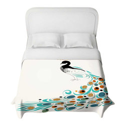 DiaNoche Designs - Peacock II Duvet Cover - Lightweight and super soft brushed twill duvet cover sizes twin, queen, king. Cotton poly blend. Ties in each corner to secure insert. Blanket insert or comforter slides comfortably into duvet cover with zipper closure to hold blanket inside. Blanket not Included. Dye Sublimation printing adheres the ink to the material for long life and durability. Printed top, khaki colored bottom. Machine washable. Product may vary slightly from image.