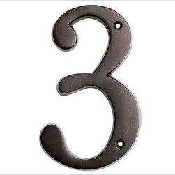 "Stella House Number, 3, Antique Silver finish - These beautifully crafted numbers add a warm, polished accent that coordinates perfectly with our Stella Door Knocker and Mail Slot. 0: 4"" wide x 5"" high 1: 2"" wide x 5"" high 2: 3"" wide x 5"" high 3: 3"" wide x 5"" high 4: 3.5"" wide x 5"" high 5: 3"" wide x 5"" high 6: 3"" wide x 5"" high 7: 3"" wide x 5"" high 8: 3"" wide x 5"" high 9: 3"" wide x 5"" high Made of brass, stainless steel and zinc with an antique silver, vintage brass or bronze finish. Sealed with lacquer. Internet only."