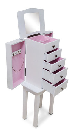 GLD - White Jewelry Box Jewelry Organizer Cosmetics Box Cabinet - The Modern Style Jewelry Armoire is the perfect and fashion way to organize all your jewelry and accessories! Now you can store and organize all your jewlery and beauty essentails. No longer will mornings be a stressful hunt for matching earrings, bracelets, necklaces, now you will find them hanging at eye level. You will have fun adding your jewelry collection to this armoire. This item is MDF wood Material with painting,no halmful to health and environment.