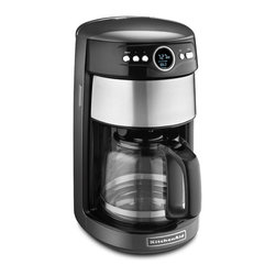 KitchenAid - KitchenAid KCM1402QG Liquid Graphite 14-cup Glass Carafe Coffee Maker - The 14-Cup Glass Carafe makes sure you don't miss a drop of coffee thanks to the easy pouring spout. The KitchenAid's 24-hour feature can be programmed for any time over a 24-hour period,so your coffee can be ready at a precise time,day or night.
