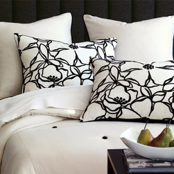 Spade Bedding Collection Option B - Look to Spade for the modern and sophisticated. Contrasting black, ivory, and crimson pieces accented with a textural striped pillow create the drama in this otherwise crisp, sleek bedding set.