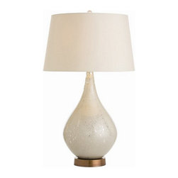 Arteriors Home - Arteriors Home Elroy Lamp - Arteriors Home 44070-320 - Arteriors Home 44070-320 - The teardrop glass shape is first acid washed on the inside then silver is hand applied then re-applied to create the layered look. The vintage brass base enhances the finish as does the light beige shade lined in cotton.