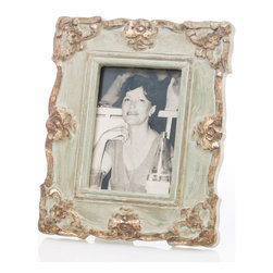 Abigails - Vendome Blue/Gold Rectangle Frame - A nice versatile picture frame in a neutral gray blue with accents of gold leaf. Vertical or horizontal usage.   Holds a 5 x 7 photo.