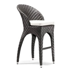 Calona 31.5 Inch Outdoor Bar Stool - The 31.5-in. Calona Outdoor Bar Stool strikes a modern pose in your family game room or outside on your deck. Covered in a UV-treated synthetic weave that resembles a fashionable herringbone pattern, this chair will look great year after year. The large sweeping back will cradle you, while the comfy foam cushion is upholstered with a water-resistant fabric. Finished with metal and rubber feet for stability and contemporary accents. Super easy to care for - just spot clean the cushion and hose off the frame! Please note: This item is not intended for commercial use. Warranty applies to residential use only.