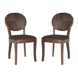 Safavieh - Gardenia Side Chair - Alive with the classic spirit of Biedermeier style, the set of Gardenia side chairs represent a new look in fine dining. Crafted with brown rattan that blends seamlessly into sculpted mahogany legs, the chairs feature rawhide detail and brown cushions.