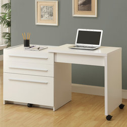 Monarch - White Slide-Out Desk With Storage Drawers - This sleek contemporary work station offers a compact work space that is ideal for apartments, condos, or small homes. With clean lines in a warm white finish, this desk will blend easily with your home decor. The top surface extends to the side, with casters at the base for easy mobility, creating a knee hole space for comfortable seating at this desk. A storage space is revealed to keep your desk supplies organized, with a medium storage drawer and convenient lateral file drawer below. Add this desk to your home for a functional workstation, where ample storage options, excellent functional features, and sophisticated style come together.