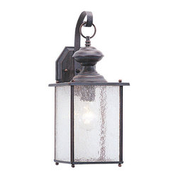 "Sea Gull Lighting - Sea Gull Lighting 8882 Wrought Iron 1 Light Outdoor Wall Sconces - A warm and natural finish of textured rust patina over solid brass and clear seeded glass delivers timeless charmExtends: 8"", height from center of outlet box: 6-1/2""1 100w Medium Base Required (Not Included)"
