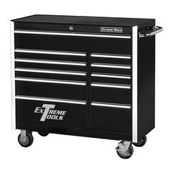 Extreme Tools - 11-Drawer Steel Professional Tool Cabinet on Casters - Made of Steel. Four (4) 5 in. x 2 in. casters. High gloss powder coat finish. Drawers with ball bearing glides. 100 lbs. rating per drawer. Skid proof drawer liners in all drawers. Black finish. Some assembly required. 42 in. W x 18 in. L x 41 in. H (236 lbs.)