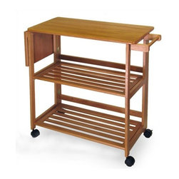 "Winsome - Foldable Kitchen Cart - This unique kitchen cart will impress you with its versatility and mobility. To conveniently save you space, this kitchen cart can be folded at any time when not in use. Mounted on casters, not only will this cart be easy to carry around, it can be moved around your kitchen easily. This cart features 2 shelves to store ingredients and pots, and towel hanger. This kitchen cart finished in oak is sure to fulfill your needs around the kitchen as well as add a splash of style. Features: -Folds flat when not in use.-Towel bar.-4 Casters.-Solid hardwood construction.-Oak finish.-Distressed: No.-Product Type: Kitchen cart.-Collection: Basics.-Base Finish: Oak.-Counter Finish: Oak.-Powder Coated Finish: No.-Gloss Finish: No.-Base Material: Solid and composite wood.-Counter Material: Solid and composite wood.-Hardware Material: Stainless steel.-Solid Wood Construction: No.-Stain Resistant: No.-Warp Resistant: No.-Exterior Shelves: No.-Drawers Included: No.-Cabinets Included: No.-Towel Rack: Yes -Removable Towel Rack: No..-Pot Rack: No.-Spice Rack: No.-Cutting Board: No.-Drop Leaf: Yes.-Drain Groove: No.-Trash Bin Compartment: No.-Stools Included: No.-Casters: Yes -Locking Casters: Yes.-Removable Casters: Yes..-Wine Rack: No.-Stemware Rack: No.-Cart Handles: No.-Finished Back: Yes.-Weight Capacity: 75 lbs.-Shelf Weight Capacity: 25 lbs.-Swatch Available: No.-Commercial Use: No.-Recycled Content: 0 % .-Eco-Friendly: No.Specifications: -ISTA 3A Certified: No.Dimensions: -Overall Product Weight: 44 lbs.-Overall Height - Top to Bottom: 34.6"".-Overall Width - Side to Side: 37.8"".-Overall Depth - Front to Back: 17.2"".-Width Without Side Attachments: 33.66"".-Countertop Width - Side to Side: 33.66"".-Countertop Depth - Front to Back: 17.24"".-Leaf: -Leaf Width - Side to Side: 33.66"".-Leaf Depth - Front to Back: 17.24""..Assembly: -Assembly Required: Yes.-Tools Needed: Hardware included.-Additional Parts Required: No.Warranty: -Product Warranty: Replacement parts within 60 days from date of purchase."