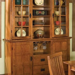 HomeStyles - Dining Buffet with Hutch (Ebony) - Finish: EbonyTwo storage drawers. Two doors open to storage. Removable wine rack. Hutch with two doors that open to storage area. Open middle section with adjustable shelves. Made from Asian hardwood and veneer. Made in Thailand. Buffet: 54.5 in. W x 18 in. D x 36 in. H. Hutch: 54.5 in. W x 16 in. D x 40 in. H. Buffet Assembly Instructions. Hutch Assembly Instructions