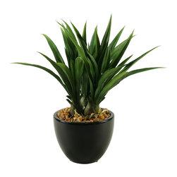 D&W Silks - D&W Silks Green Lily Grass In Ceramic Bowl - Green lily grass in ceramic bowl