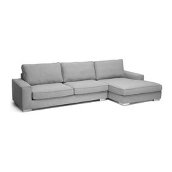 "Baxton Studio - Baxton Studio Brigitte Gray Modern Sectional Sofa - The Brigitte Designer Sectional Sofa is unmistakably large and will certainly take charge of your family room. Perfect for a home with a family, this 2-piece sofa and chaise set is made of sturdy eucalyptus and plywood with dense foam cushioning and versatile, neutral light gray fabric upholstery (95% polyester, 5% linen). The chaise is adjustable downward to the back for a reclined position. All seat cushions are removable (including the entire cover set), making this a breeze to spot or dry clean. Completing the look are contemporary chrome-plated steel legs with non-marking feet. This Chinese-made affordable modern sofa requires minor assembly.32"" H x 123"" W x 65"" D"