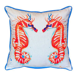 Betsy Drake - Betsy Drake Coral Sea Horses Pillow- Indoor/Outdoor - Coral Sea Horses Pillow- Large indoor/outdoor pillow. These versatile pillows are equal at enhancing your homes seaside decor and adding coastal charm to an outdoor setting arrangment. They feature printed outdoor, fade resistant fabric for years of wear and enjoyment. Solid back, polyfill. Proudly made in the USA.