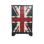 Union Jack Dresser - This stunning dresser would be great in a childs' room! Mid century maple 6 drawer dresser has a hand painted Union Jack by Boulder Blue Studio. Lightly distressed with dry brushing and tinted glazes. Painted with satin sealant for a durable finish! Inside drawers are painted a burnt gold and work smoothly. Original hardware.