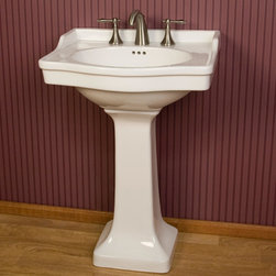 "Cierra Pedestal Sink - The Cierra Pedestal Sink has a beautiful, universal design making it suitable for any style home decor. Pair with your choice of 8"" widespread faucet."