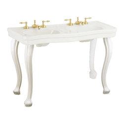 "Renovators Supply - Bone China Double Console Sink Belle Epoque 8"" - Double Vanity Sink: Belle Epoque double deluxe."