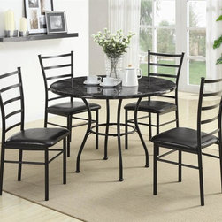 Coaster - 5-Pc Dinette Set (Black) - Color: BlackIncludes table and four side chairs. Casual style. Table with round faux marble top in gray tones. Sturdy brown metal base. Chair with ladder-designed back. Durable vinyl seat. Table: 42 in. Dia. x 30.50 in. H. Chair: 19 in. W x 17 in. D x 38.25 in. H. WarrantyBlending simple style and earnest elegance with ease, this five-piece dining set is sure fit into almost any decor. With simple style to spare, this Dinette collection is sure to bring earnest elegance into your home decor.