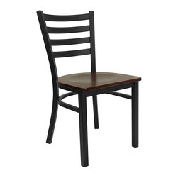 Flash Furniture - Hercules Ladder Back Chair w Curved Support B - Set of 2. 0.75 in. thick plywood seat. Mahogany finished wood seat. 16 gauge steel frame. Plastic floor glides. Warranty: 2 year limited. Made from steel frame, wood and plastic. Black powder coat frame finish. Minimal assembly required. Back: 15 in. W x 14.25 in. H. Seat: 16.25 in. W x 16.5 in. D. Seat Height: 17.25 in.. Overall: 16.5 in. W x 17 in. D x 32.25 in. H (14 lbs.)
